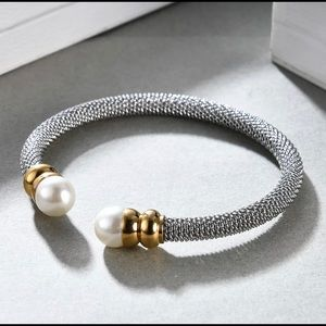 Stainless Steel Faux Pearl Bangle